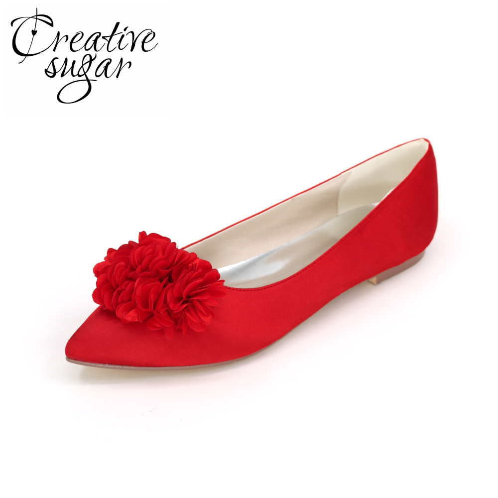 Creativesugar Sweet 3D flower petal pointed toe woman flats satin evening dress shoes silver grey purple red white royal blue<br>