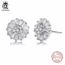 ORSA JEWELS Newest Trendy Solid 925 Silver Earrings With Cubic Zirconia Round Shape Real Sterling Silver Earrings for Women SE27