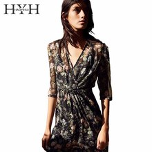 Buy HYH HAOYIHUI Women Knee Length Dress V Neck Floral Print Half Sleeve Casual Ruffles Decoration Spring Female Dress for $17.26 in AliExpress store