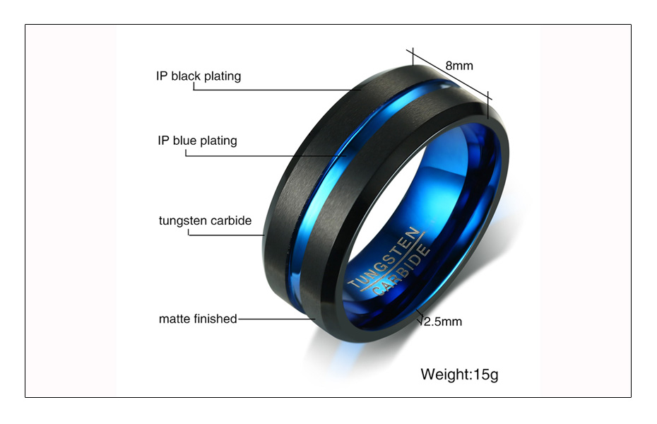 Meaeguet Black Tungsten Carbide Ring For Men Women Matte Finished Wedding Bands Trendy Blue Carbon Fiber Groove Rings Jewelry (6)
