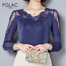 Buy FGLAC Women clothing Fashion Casual long sleeved Hollow Lace tops Autumn Elegant Slim Mesh tops Plus size women tops for $12.50 in AliExpress store