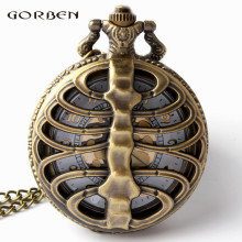 Retro Steampunk Bronze Spine Ribs Hollow Quartz Pocket Watch Necklace Pendant sweater chain Women Gift P105