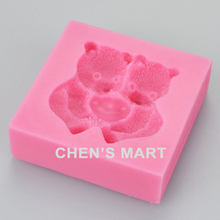 New Arrival 1 pc 38G Cuddling heart Love Bears cartoon Silicone Mould Fondant Cake Wedding Decorating Sugarcraft Embossing(China)