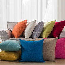 Solid Color Pillow Case Linen Cotton Decorative Throw Sofa Seat Car Cushion Covering Blue Yellow Orange Black Wine Gray Green(China)