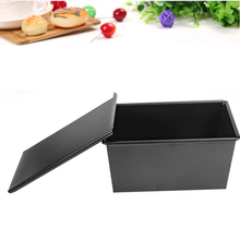 500G Cake Bake Mold Nonstick Carbon Steel Corrugated Box With Lid Rectangle Black Toast Bread Loaf Pan Bakeware Tools