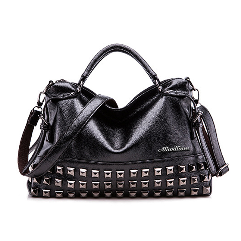 Luxury Brands 2017 Designer Tote Black Bag Women Leather Handbags Purse Fashion Rock Vintage Retro Large Shoulder Messenger Bags<br><br>Aliexpress