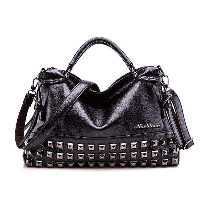 Luxury Brands 2017 Designer Tote Black Bag Women Leather Handbags Purse Fashion Rock Vintage Retro Large Shoulder Messenger Bags<br>