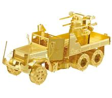 3D puzzle DIY build metal kids toys 3D models puzzle Building mode USA M35 air defense truck toys for childern free shipping(China)