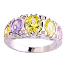 lingmei Rings for Women Lady Girlfriend Morganite Pink CZ Green Purple AAA Silver Color Ring Size 7 8 9 Free Ship Wholesale 552R