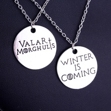 Game of Thrones Letter Winter is Coming Valar Morghulis Pendant Necklace Collares Hot Sell Round shape Best Friend Necklace