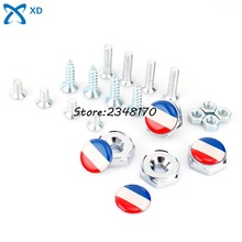For French flag logo 4pcs/set Stainless steel Car License Plate Bolts Frame Screws alfa romeo peugeot 508 ford fiesta bmw e90(China)