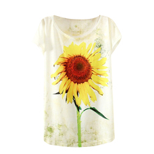 Hot Fashion Women T-Shirt Tee Tshirt 3D Novel Digital Print sunflower Short Sleeve Tops Casual Shirt