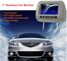 Touch button 7in LED digital screen Headrest Car Monitor Player with 2 videos input unique design