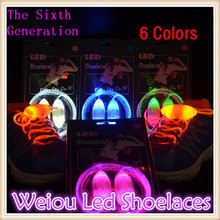 Hot selling New 1 Pair Weiou Sixth generation led flash lighting glow shoelace led lace for shoes 6 Colors