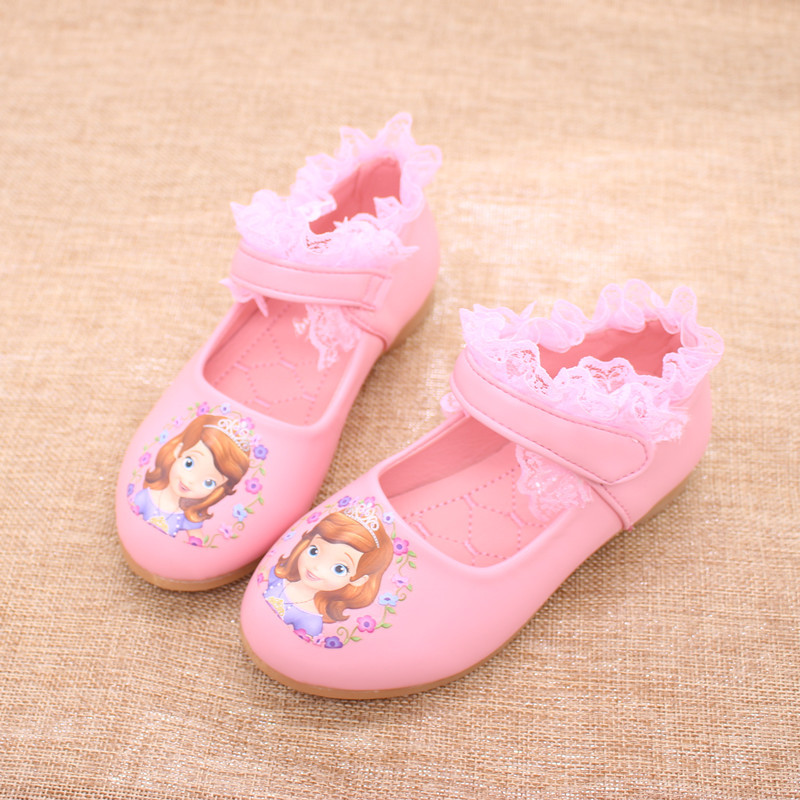 childrens shoes 2-10 years old little and big girl sisters PU Party kids dancing shoe cartoon princess shoes PU Leather Lace<br>