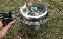 One Set Outdoor Picnic Tableware Camping Portable tool Hiking Cookware Pot Pan Cooking
