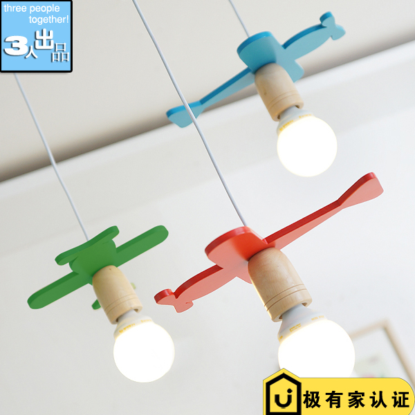LED Colorful Childrens Bedroom Airplane Wood Pendant Lamp Cafe Coffee Shop Decoration Lighting<br>