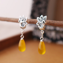 2 colors famous brand 925 silver Natural semi-precious stones yellow chalcedony earrings cartoon Phoenix peacock girlfriend gift