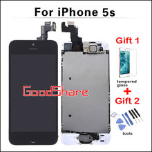 100% Test AAA Quality LCD Full Assembly For iPhone 5s Touch Screen Digitizer Display Complete Set+Home Button+Front Camera+Frame