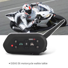 EJEAS E6 1200M Motorcycle Bluetooth Helmet Headsets Interphone Intercom for 6 Riders BT Wireless intercomunicador interfone MP3