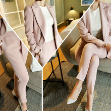 Buy Women's new fashion suit / women's business OL professional suit solid color double button suit jacket + Ankle-Length Pants suit for $48.38 in AliExpress store