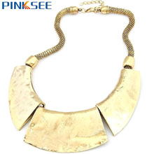 Retro Ethnic Women Bib Chunky Choker Statement Collar Chain Alloy Pendant Short Necklace Fashion Neck Jewelry Silver Gold Tone