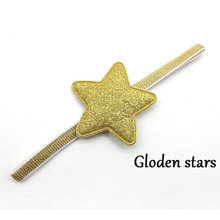 1PCS Bling Sparkly Elastic Ribbon Hair Band Glitter Star Headband For Newborn Baby Girl Birthday Gift Blue Gold Pink Rose Silver