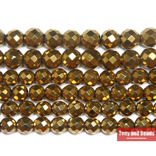 "Free Shipping Natural Stone Faceted Gold Plt Hematite Shamballa Beads 4 6 8 10 MM 15"" Per Strand Pick Size"