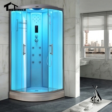 90cm Shower massage Corner Cabin room White  NO Steam  Cabin hydro cubicle Enclosure glass sliding doors walking-in saunaD09