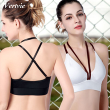Vertvie Sexy Strappy Yoga Bras Women Patchwork Deep V Halter Sports Bra Breathable Shockproof Gym Stretch Push Up Fitness Bras