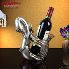 2016 Promotion Sale High-end Business Gifts Resin Old Antique Gold Diamond Ornaments Swan Wine Rack Study Office Decor(China)