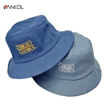 vancol 2017 high quality unisex spring  hat for women blue letter embroidery fishing cap denim mens bucket hat