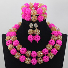 Amazing Hot Pink African Bead Jewelry Set Fuchsia Pink and Gold Bride Costume Crystal Jewellery Set New Free Shipping WD584