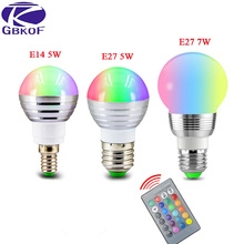 GBKOF E27 E14 LED 16 Color Changing RGB Magic Light Bulb Lamp 85-265V 110V 120V 220V RGB Led Light Spotlight + IR Remote Control