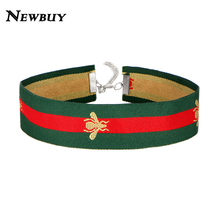 NEWBUY 2017 Fashion Vintage Design Women Choker Necklace Blue&Red Navy Strip Choker Cute Gold Bee Embroidery Collar Necklace