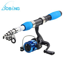Bobing Mini Portable Sea Fishing Rod With Reel Travel Fishing Combos Telescopic Sets Hard Carbon Fishing Rods 3 Balls Reels