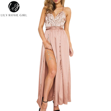 Buy Lily Rosie Girl Pink Sequin Shoulder Sexy Dress Women Summer Deep V Neck Empire Split Party Maxi Long Strap Dresses Vestidos for $17.99 in AliExpress store