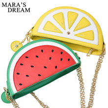 Mara's Dream 2018 New Female Hand Bag PU Leather Women Cute Fruit Packet Chain Shoulder Messenger Bag Orange Watermelon Bag(China)