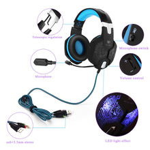 Best Computer Wire Gaming Headphone Gaming Headset Over Ear casque gamer Game Headphone With Microphone Mic LED light for PC(China)