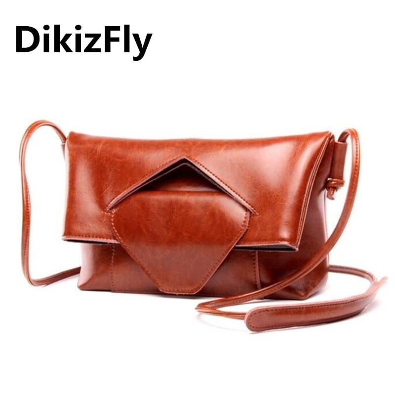 DikizFly Fashion Brand Genuine Leather Messenger Bag Famous Brand Women Shoulder Bag Women Clutch Bag Envelope Crossbody bag <br>