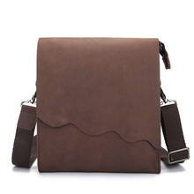 Crazy Horse Genuine Leather Men Bags Fashion Male Messenger Bags Men's Small Briefcase Man Casual Crossbody Shoulder Handbag