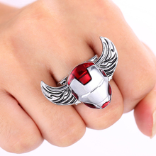 J Store Movie Souvenir Iron Man Rings for Women Rings Angel Wings Rotatable Stainless Ring Men Jewelry Accessories
