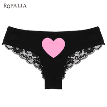 Women Lace Briefs Lady Love Sexy Pink Heart Panties Womens Low Waist Intimates Lingeries Intimates Underwear(China)