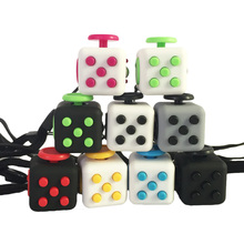 2.2cm 11 Colour Mini Fidget Relief Cube  Keychain Vinyl Desk Toy Squeeze Fun Stress Reliever Toy Click Glide Flip Spin Breathe