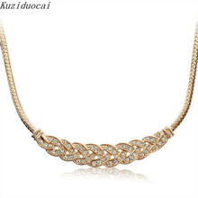 Kuziduocai 2017 New ! Fashion Fine Jewelry Metal Intertwined Rhinestones Snake Chain Elegant Necklaces & Pendants For Women N-59(China)