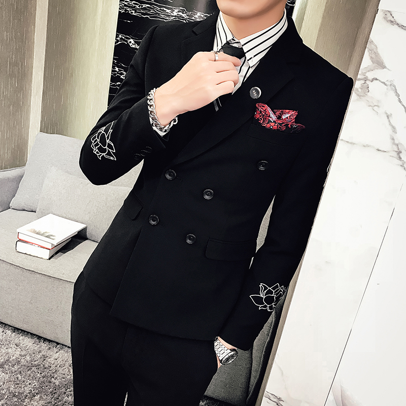 New Fashion Hot Sale Brand 2017 autumn men's casual high quality solid easy care suit male slim korea style blazer vest and pant