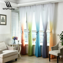 WSPhang 1pcs Modern Home Decoration Tulle Curtains Bedroom Gradient Ramp Curtain Yarn Window Curtain Livingroom W100xH200cm