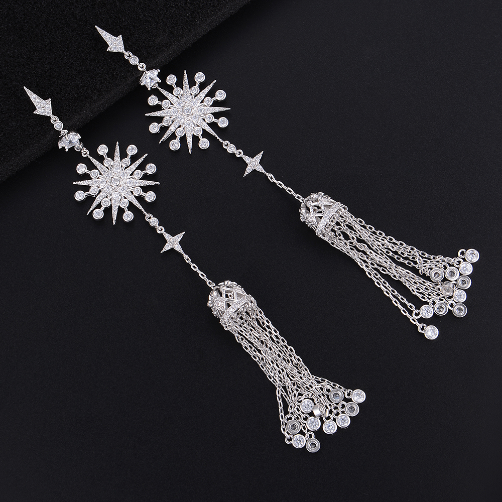128MM Silver Tone Snowflake Chains Tassel Cubic Zirconia Long Dangle Drop Earrings For Women Girls
