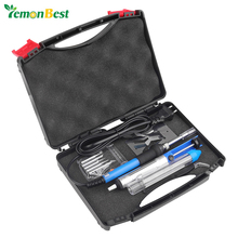 7 in 1 Adjustable Temperature 60W Soldering Iron Kit 6pcs Tips/Desoldering Pump/Stand/Tweezers/Additional Solder Tube/Carry Case