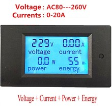 2017 Hot Sale Digital Only New 20a Ac 80-260v Multifunction Digital Led Power Panel Meter Monitor Energy Voltmeter Ammeter(China)